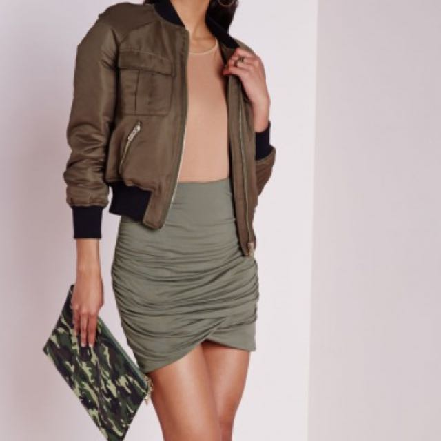 Miss Guided Khaki Gathered Mini Skirt