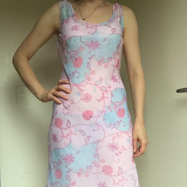 Miss Shop Blue And Pink Floral Dress