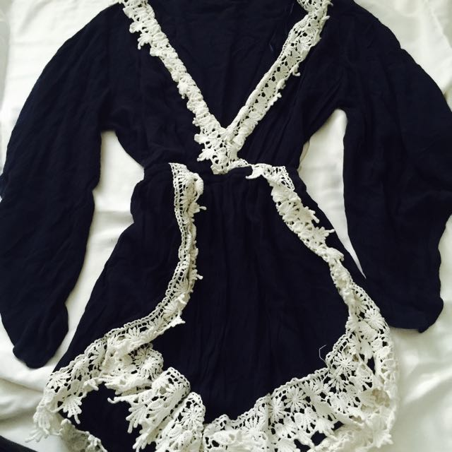 Navy And White Playsuit