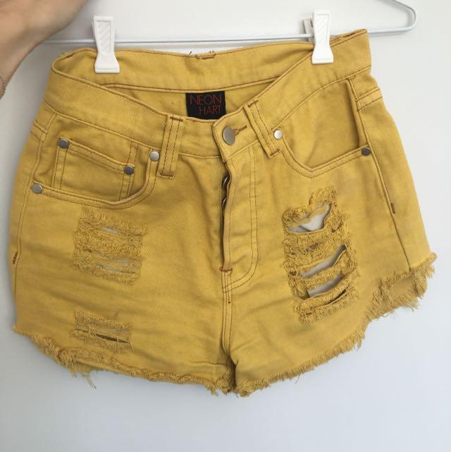 Neon Hart High waisted Denim Shorts