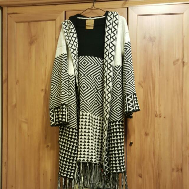 含運)pazzo波西米亞風格長版厚織外套