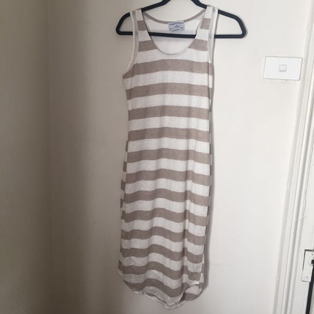 Premonition Designs Tan And White Stripe Dress Size 10