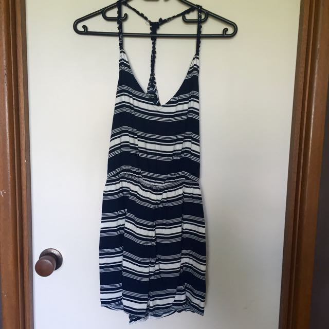 Size XS Navy and White Playsuit