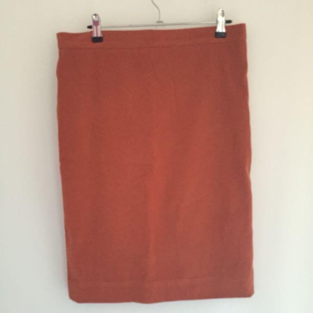 Suede Orange Highwaisted Skirt
