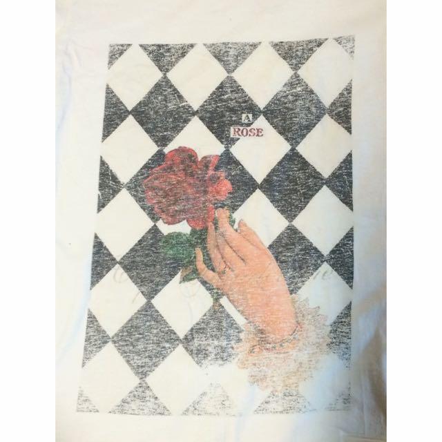 ::一朵玫瑰::二手洗舊感搖滾白色短T