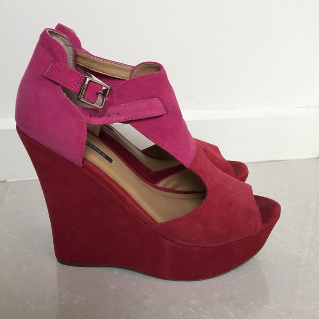 Tony Bianco Red And Pink Wedge Sandles