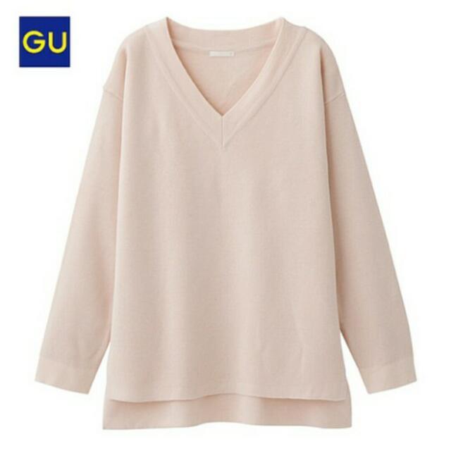 【徵】V領針織衫 粉色 GU的佳