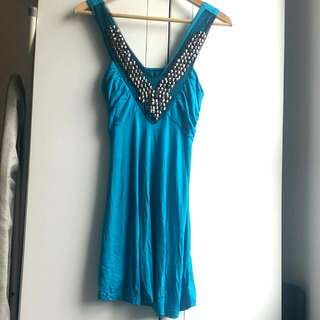 Beaded Turquoise Dress