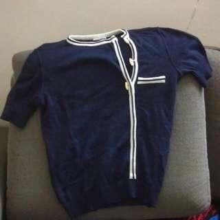 Blue Cotton High Neck button Up shirt