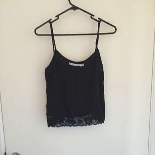 Black Camisole Top With Lace Detail