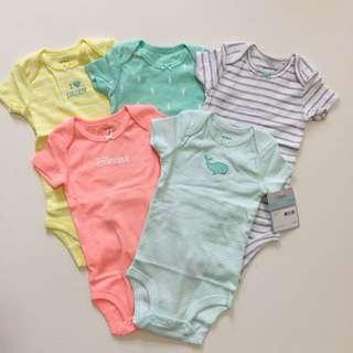 Carter's 官網正品[小海馬小鯨魚]短袖全新女生包屁衣五件組