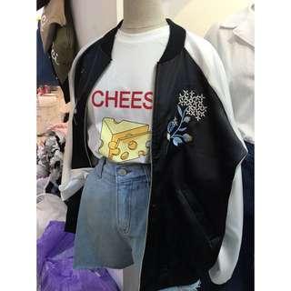 《韓國連線》橫須賀刺繡花滑布(緞面)棒球外套