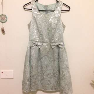 Metallic Silver/Mint Dress - Size 6