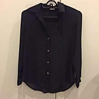 Zara Inspired Black Coloured Button Top