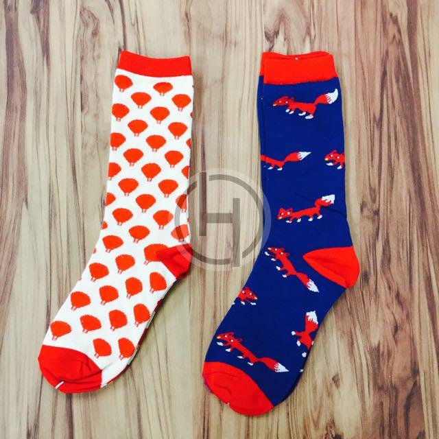 《現貨》熱氣球狐狸滿版中筒襪