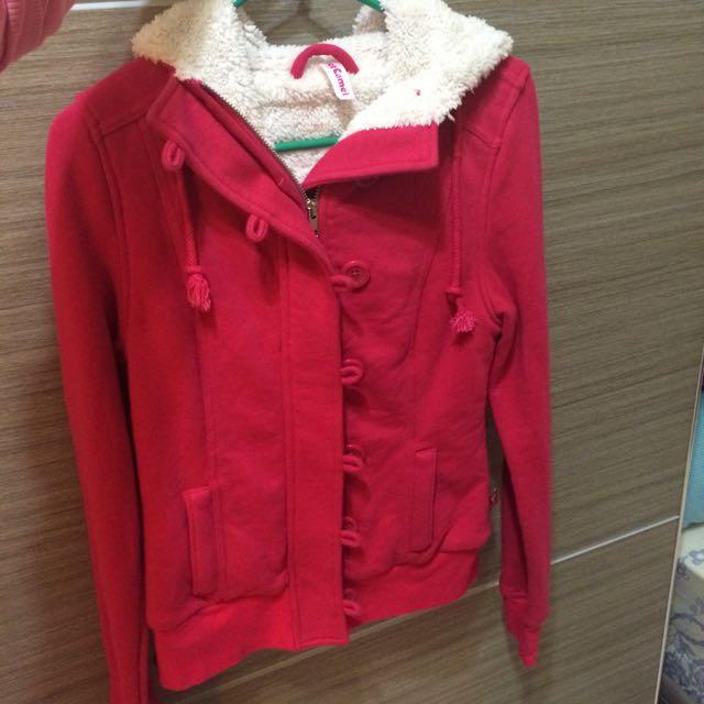 桃紅鋪毛外套