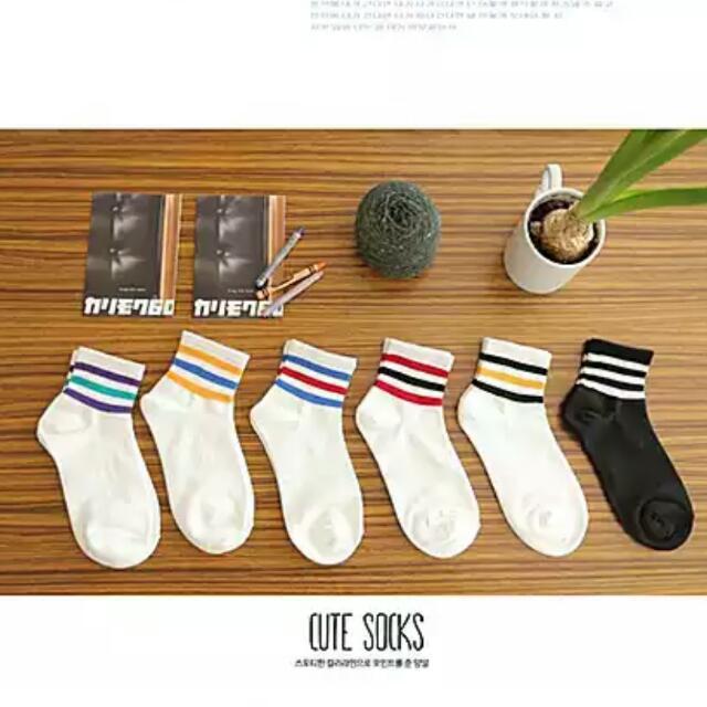 韓版條紋運動襪子