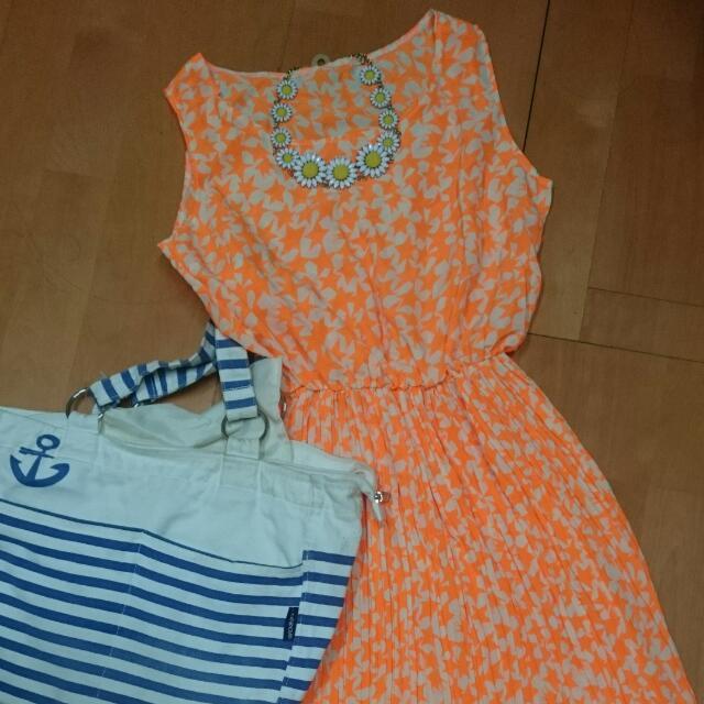 日本帶回 夏日海邊螢光橘洋裝