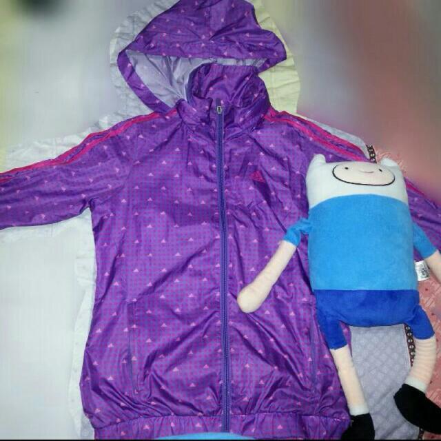 徵收~~愛迪達 紫色黃綠滾邊風衣外套