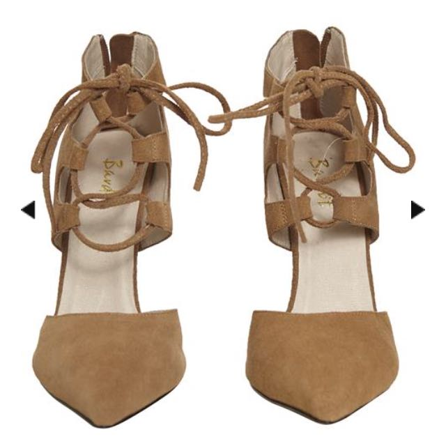 Bardot Suede Lace Up Heels (Tan)
