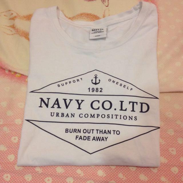 Caco Navy 白t 短袖