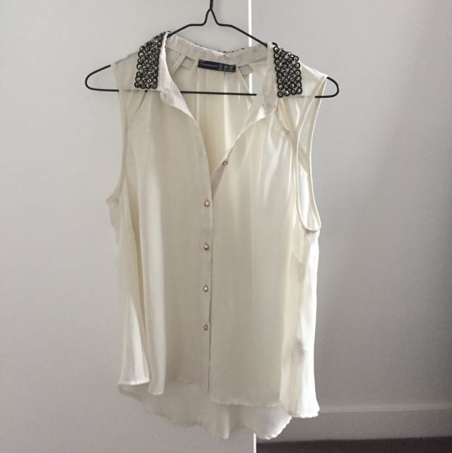 Chiffon Top With Sequin Collar