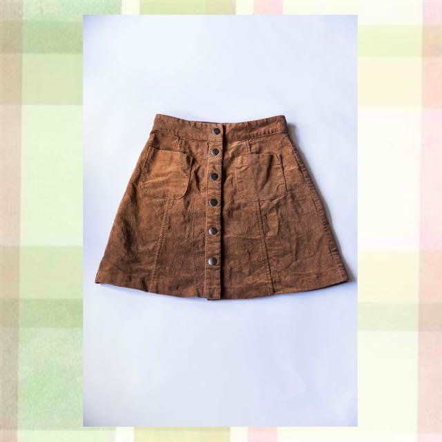 Dotti Size 8 Corduroy Button Up Skirt