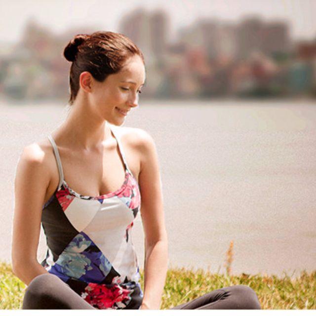 easy yoga LA-VEDA印花細肩帶Y字挖背瑜珈服 SIZE:M