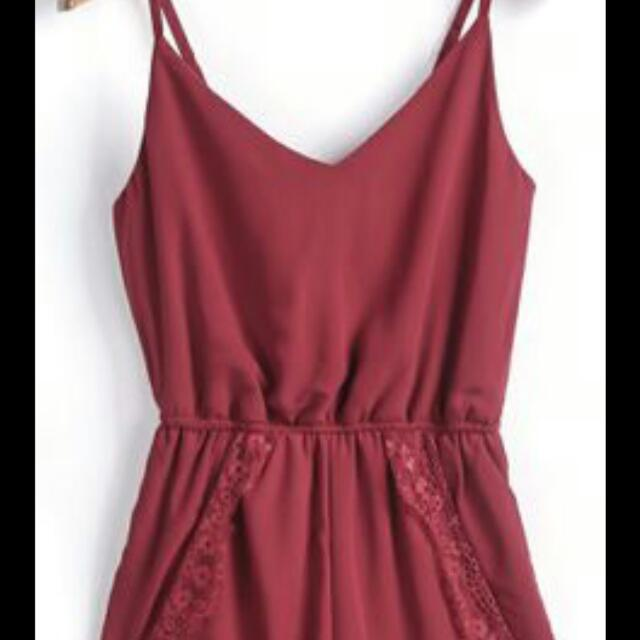Maroon Lace Romper