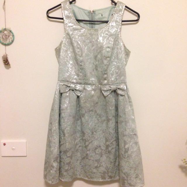 Metallic Silver/Mint Dress - Size 6