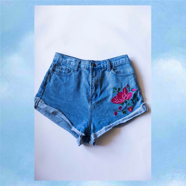 Missguided Embroided High Waisted Shorts