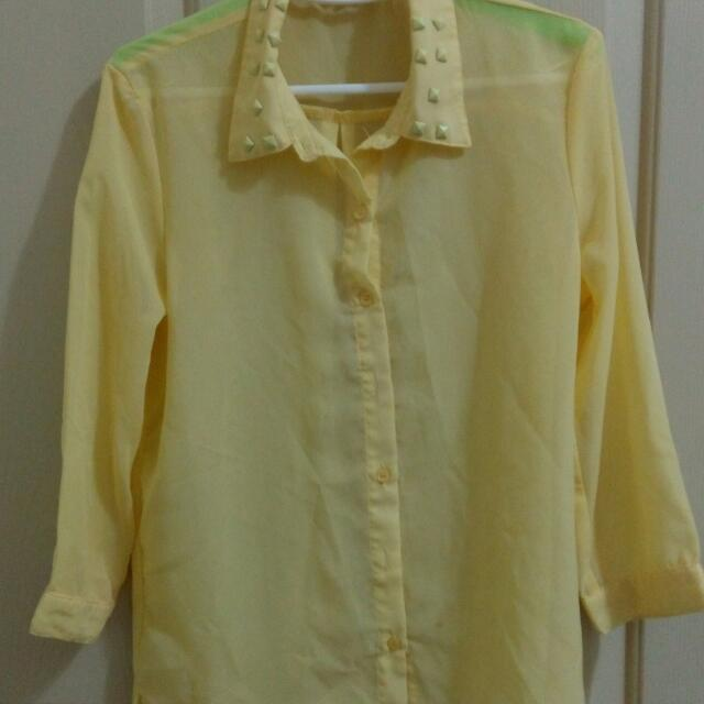 Net鵝黃色薄紗襯衫