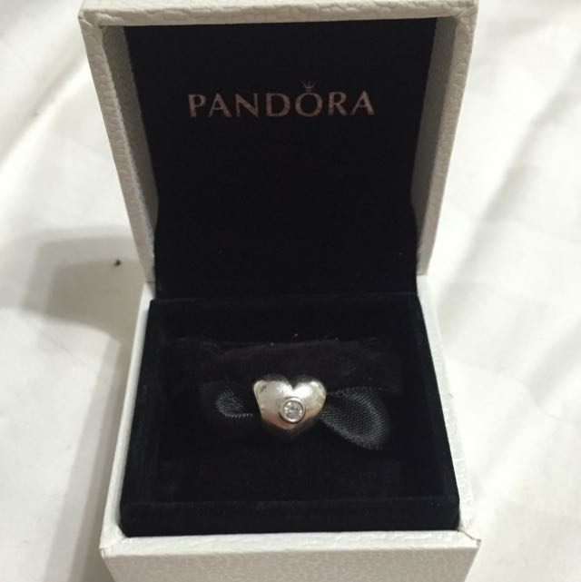 Pandora Love heart Charm with pendent in the middle