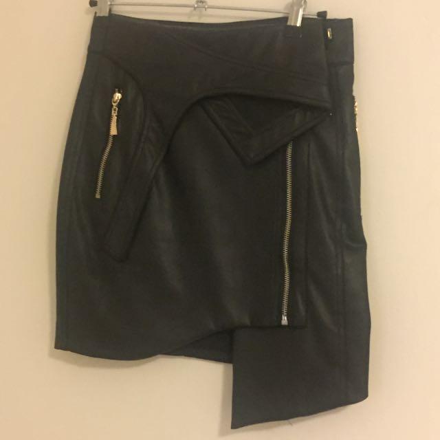 Premonition Designs Leather Like Biker Skirt Size 6