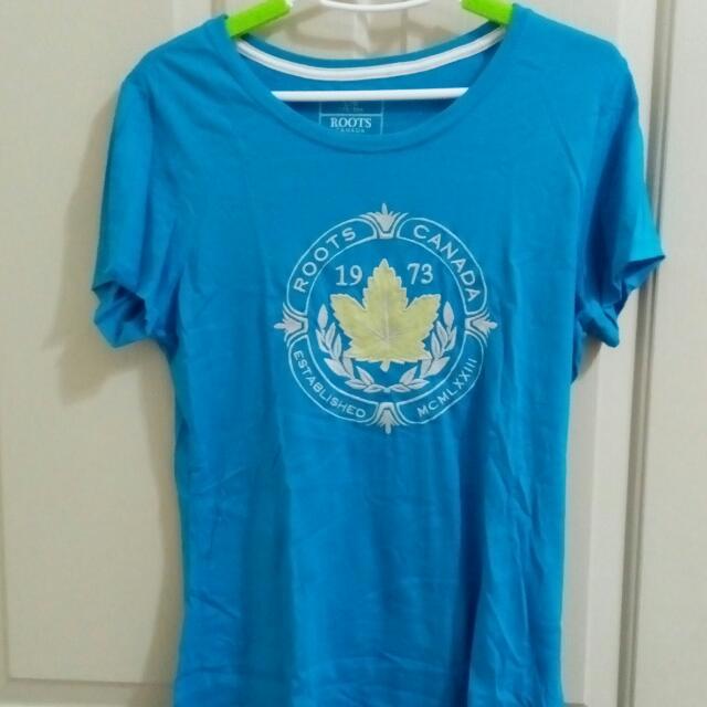 Root水藍色T恤