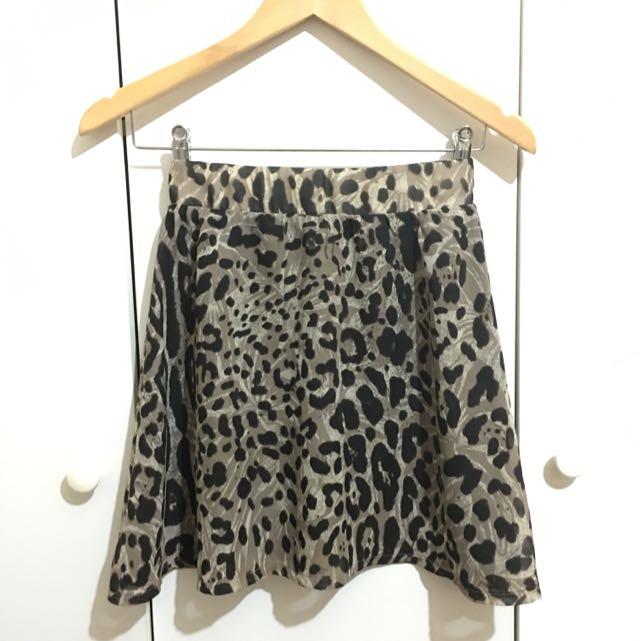 Supre Leopard Print Skater Skirt