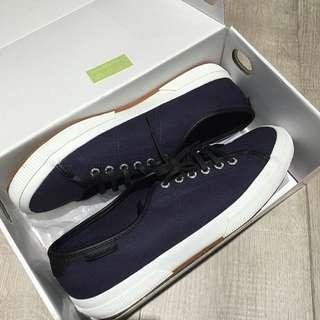 全新superga義大利皮革帆布鞋