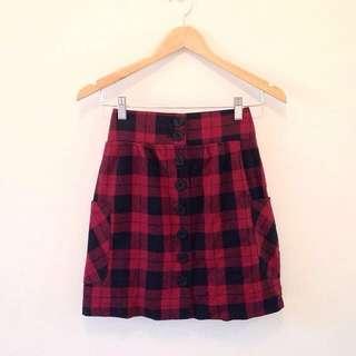 Button front tartan skirt