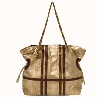 7b6091429f6e5d Authentic CHANEL Chain Shoulder Tote Bag Silver/Brown Python 04 4.06