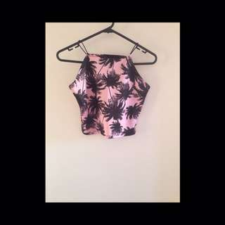 Pink And Black Crop Top