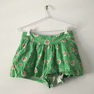 Green Flower Shorts