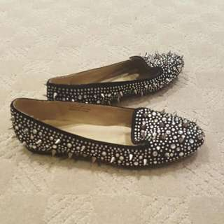 Black Spike And Sequin Shoes