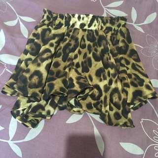 豹紋雪紡褲裙