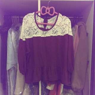 韓國布蕾絲澎袖荷葉衣