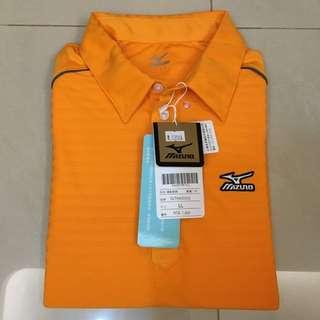 展示品~全新Mizuno美津濃 橘色吸汗速乾透氣高爾夫Polo衫(LL Size)