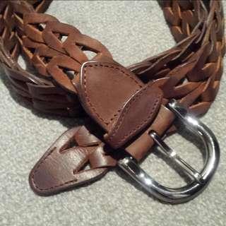 Dark Brown Plaited Belt