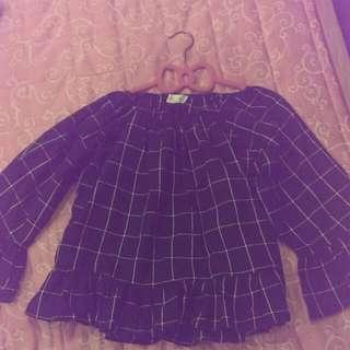 林鴒穿搭  韓國平口格子荷葉衣