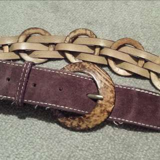 Wine Colour Belt With Wooden rings