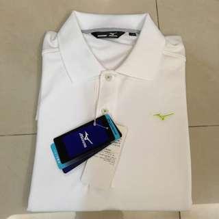 展示品~全新Mizuno美津濃 白色休閒高爾夫Polo衫(XL Size)
