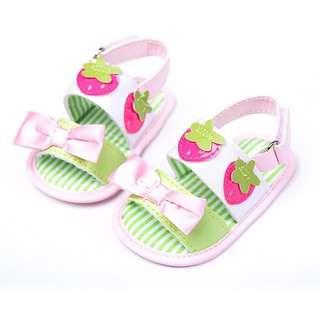 **小饅頭本舖**-草莓蝴蝶結粉色/桃紅春夏可愛造型涼鞋(含運)